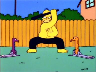 """Los Simpsons retratando como siempre la realidad, en este caso con """"el día del apaleamiento"""""""